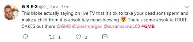 Les actions du couple ont été critiquées par les téléspectateurs de Good Morning Britain (photo), qui les ont qualifiées de «mal» pour avoir pris le sperme de leur fils sans son consentement.