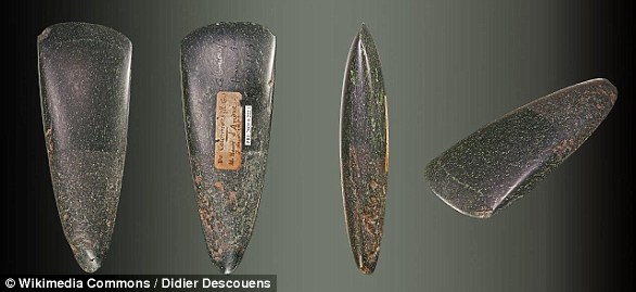 The stone age is a period in human prehistory distinguished by the original development of stone tools that covers more than 95 per cent of human technological prehistory. This image shows neolithic jadeitite axes from the Museum of Toulouse