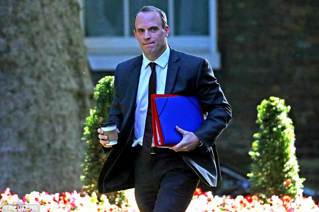 Brexit Secretary Dominic Raab (pictured arriving for the Cabinet meeting today ) has opened another flank in the Brexit battle by threatening to slash the £39billion 'divorce bill' if Brussels refuses to compromise