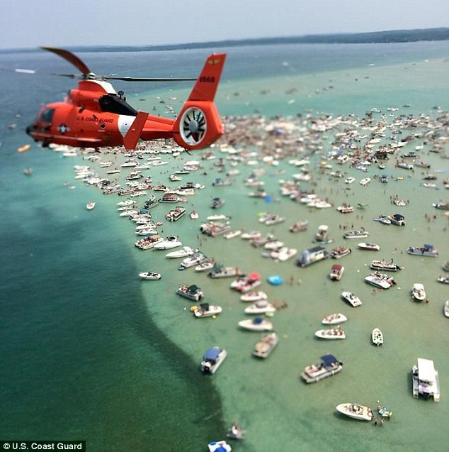 Sandbar parties are held regularly in some parts of America, with locals and tourists getting stuck in