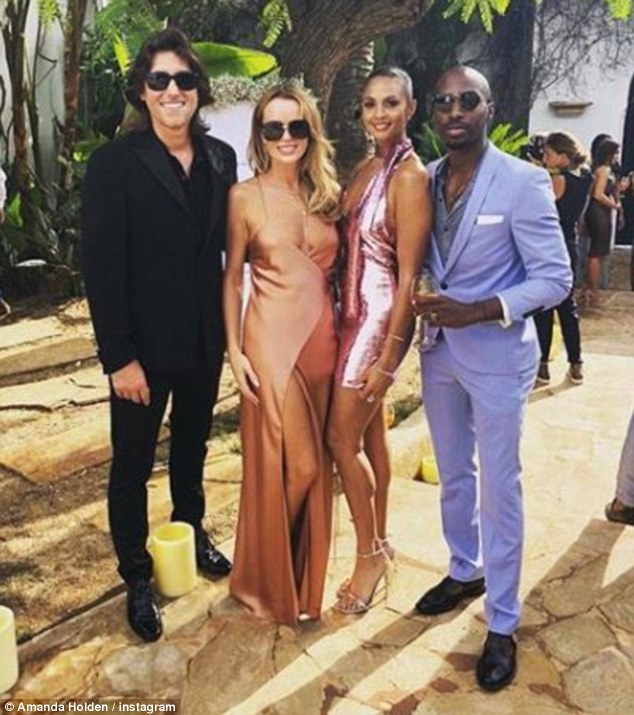 Glam: This comes after Amanda and Alesha Dixon, 39, attended Francesca Neill's wedding to David Abramovitch in Ibiza. Pictured with their other halvesChris Hughes and Azuka Ononye