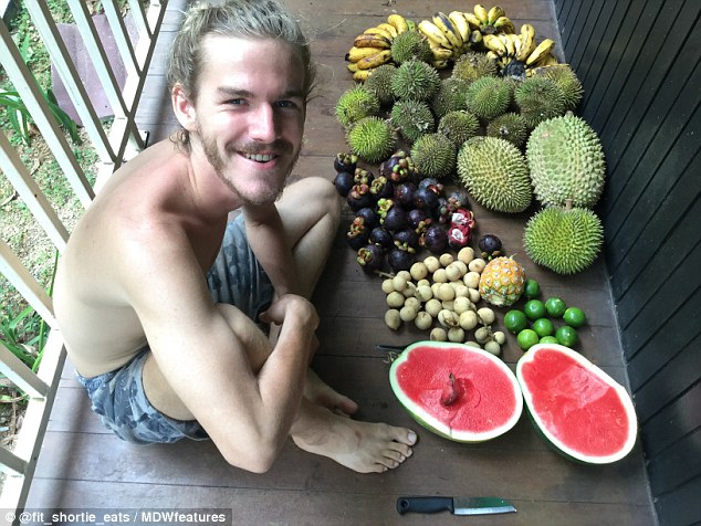 Tina met her fellow fruitarian fiancé Simon Beun, 26, from Izegem, Belgium, (pictured with an array of fruit in Bali) after he got in touch with her through Instagram