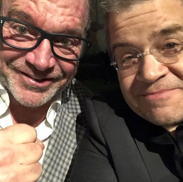 Fighter:Tom Arnold and Mark Burnett got into a physical altercation on Sunday night at a pre-Emmy party in Los Angeles multiple sources confirm to DailyMail.com (Arnold with Patton Oswalt after the altercation)