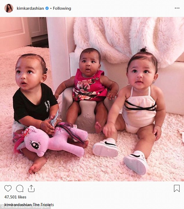 Family matters:Also, Kim feels that LA is where her family will thrive. 'She loves her kids growing up so close to their cousins and she loves seeing her mum and her sisters every day,' said a source; Kim's daughter Chicago with Khloe's True and Kylie's Stormi