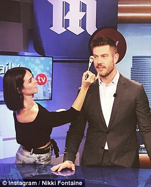 Professional advice: DailyMailTV makeup artist Nikki Fontaine (pictured on set with host Jesse Palmer) warned that you also need to keep any tools used to apply beauty products clean and sanitized