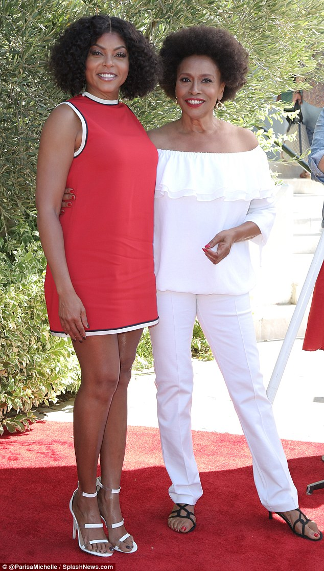 Stand by me: Actress Jenifer Lewis also shined in an all-white ensemble at the charity event
