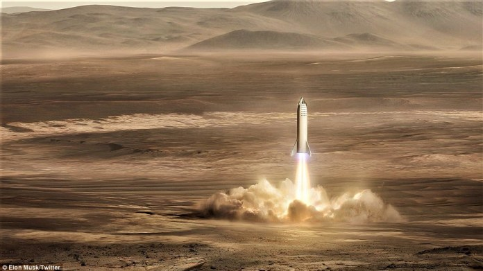At nearly 348 feet (106 metres) tall, the BFR is a truly gigantic spaceship, towering over the 229-feet-tall (70 metres) Falcon Heavy rocket. The spaceship will take off and land vertically, powered by 37 'raptor' engines, to produce a liftoff thrust of 5,400 tons, lifting a total mass of 4,400 tons. Pictured, the ship touching down on the red planet