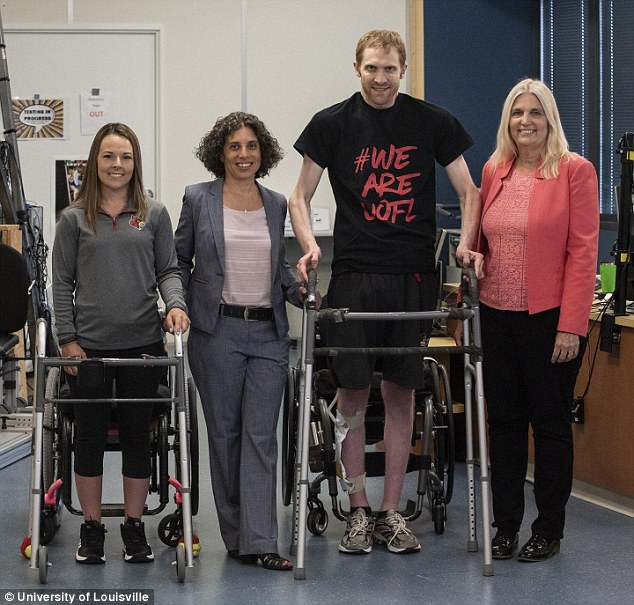 Both Thomas and Marquis are now able to take steps on their own with the assistance of walkers or support bars. Pictured, left to right: Thomas, Dr Claudia Angelim, Marquis and Dr Susan Harkema