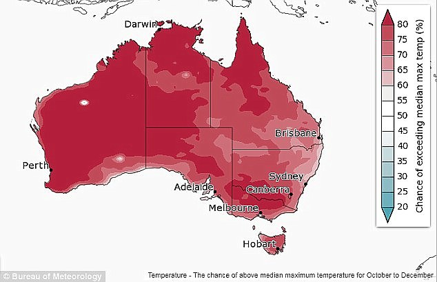 This map depicts the chance of above median maximum temperature for October to December, showing that much of Australia has an 80 per cent chance of exceeding this