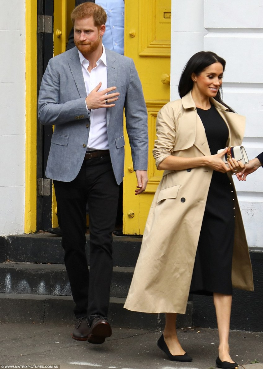 After lunch, the Duke and Duchess made a quick wardrobe change, the latter changing from heels to flats