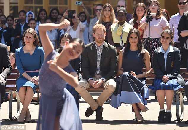 Prince Harry and Meghan Markle spoke to the high school students about striving for female empowerment