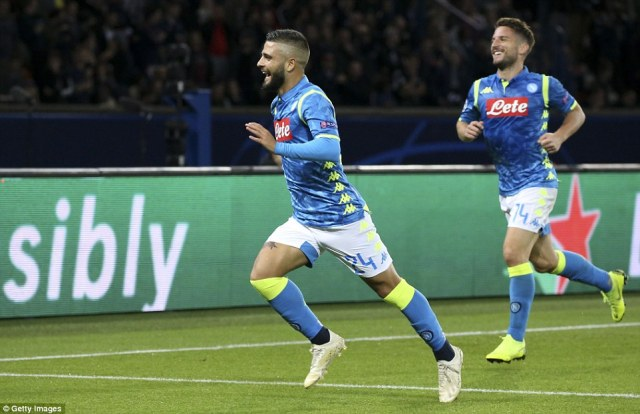 Insigne (left) celebrates with Mertens after breaking the deadlock against Paris Saint-Germain on Wednesday night