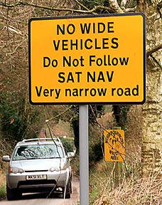 sat nav roadsign