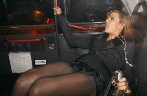 Tumbling Tara Socialite Falls Into A Taxi After A Late