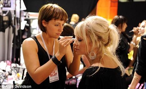 Jo Wood gets her make-up done backstage