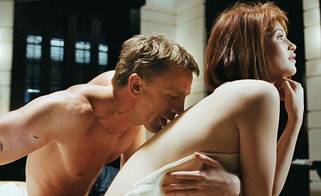 Gemma with Daniel Craig in a steamy scene from Quantum of  Solace