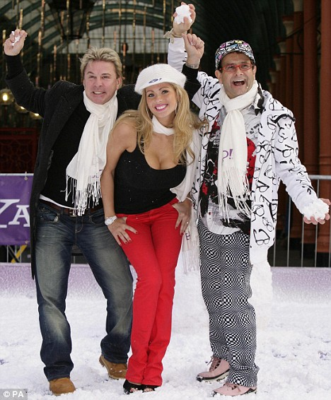 I'm a Celebrity contestants David van Day (L), Nicola McLean and Timmy Mallett during a snowball fight launched by Yahoo!