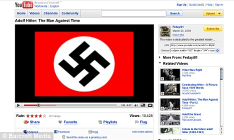 A Nazi swastika appears in a pro Nazi YouTube video.