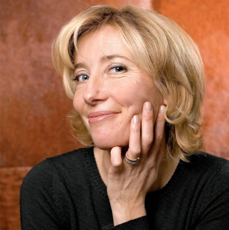 British actress Emma Thompson shows her hands & fingernails.