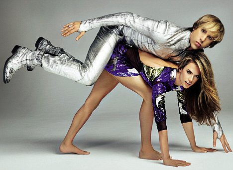 Bruno gatecrashes a 'Versace' style fashion shoot with model Alessandra Ambrosio for Marie Claire magazine