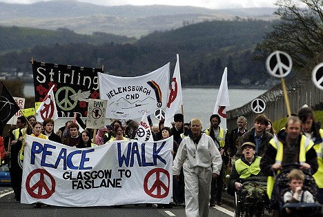 CND activists march in Scotland in 2004