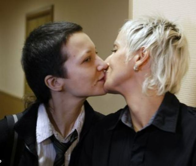 Lesbian Rights Irina Fedotova Fet L And Irina Shipitko Kiss In Protest