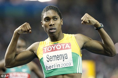 Shock claims: Caster Semenya celebrates her 800m victory in Berlin last month amid an international row over whether she is a man or a woman