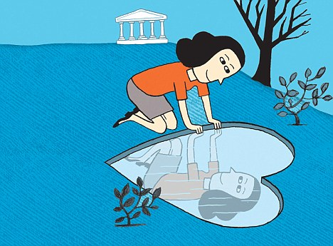 Graphic of a woman looking at her reflection in a heart-shaped pond