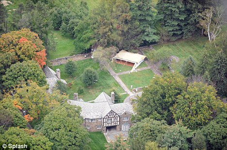 Pitching a fit: Gaddafi's tent (top of picture) can be seen in the grounds of Donald Trump's Seven Springs estate in Bedford, New York