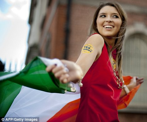 A supporter of 'Ireland For Europe' celebrates