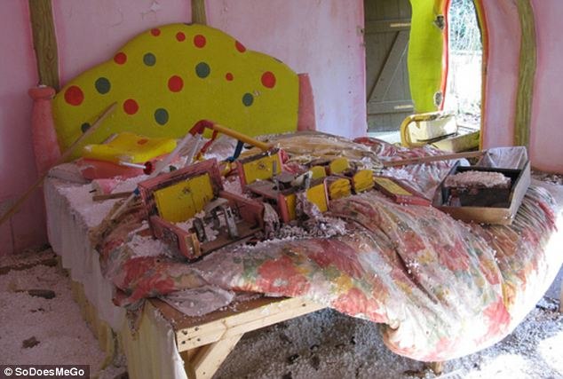 Trashed: The bedroom in Mr Blobby's house has been destroyed by ravers and is covered in debris