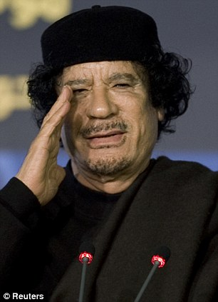 Bizarre: Gaddafi carried out the stunt at the attends the FAO food security summit in Rome