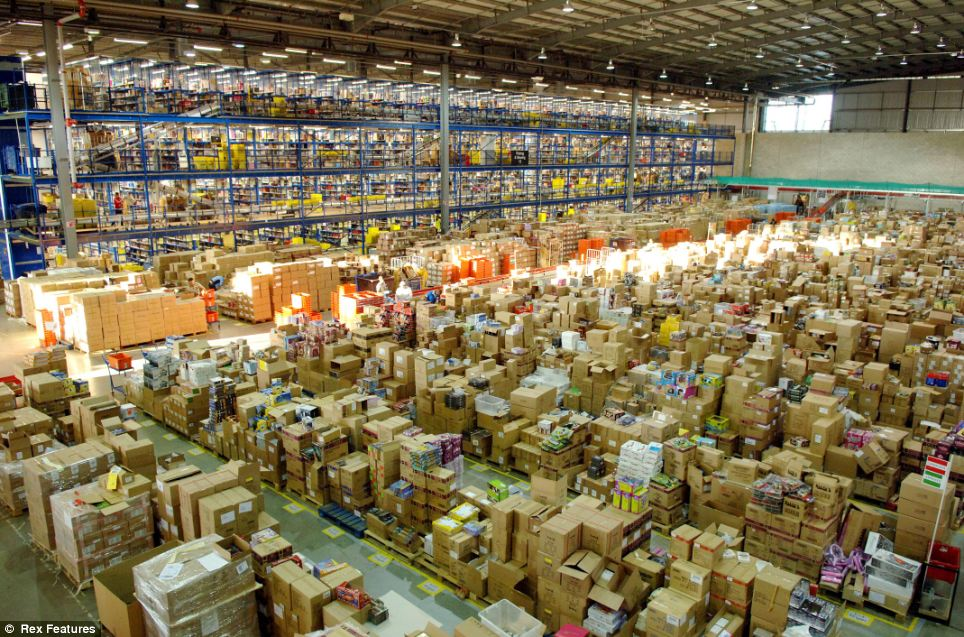 Santa's one-stop-shop: The Amazon warehouse near Milton Keynes has everything you can think of - including the author's own book!
