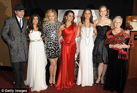 Daniel Day-Lewis, Fergie, Kate Hudson, Penelope Cruz, Marion Cotillard, Nicole Kidman and Dame Judi Dench attend the New York premiere of