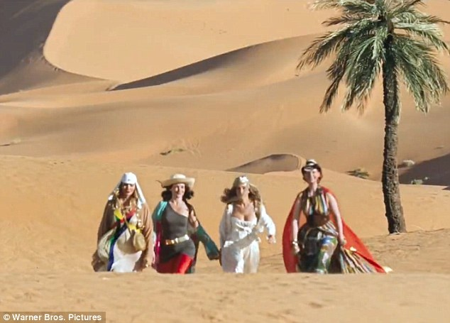 Hot stuff: Samantha, Charlotte, Carrie and Miranda are seen walking through the desert in scenes filmed in Morocco for the new movie