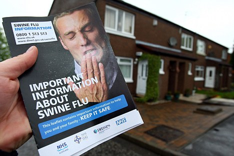 Leaflets were issued to highlight the danger of contracting swine flu
