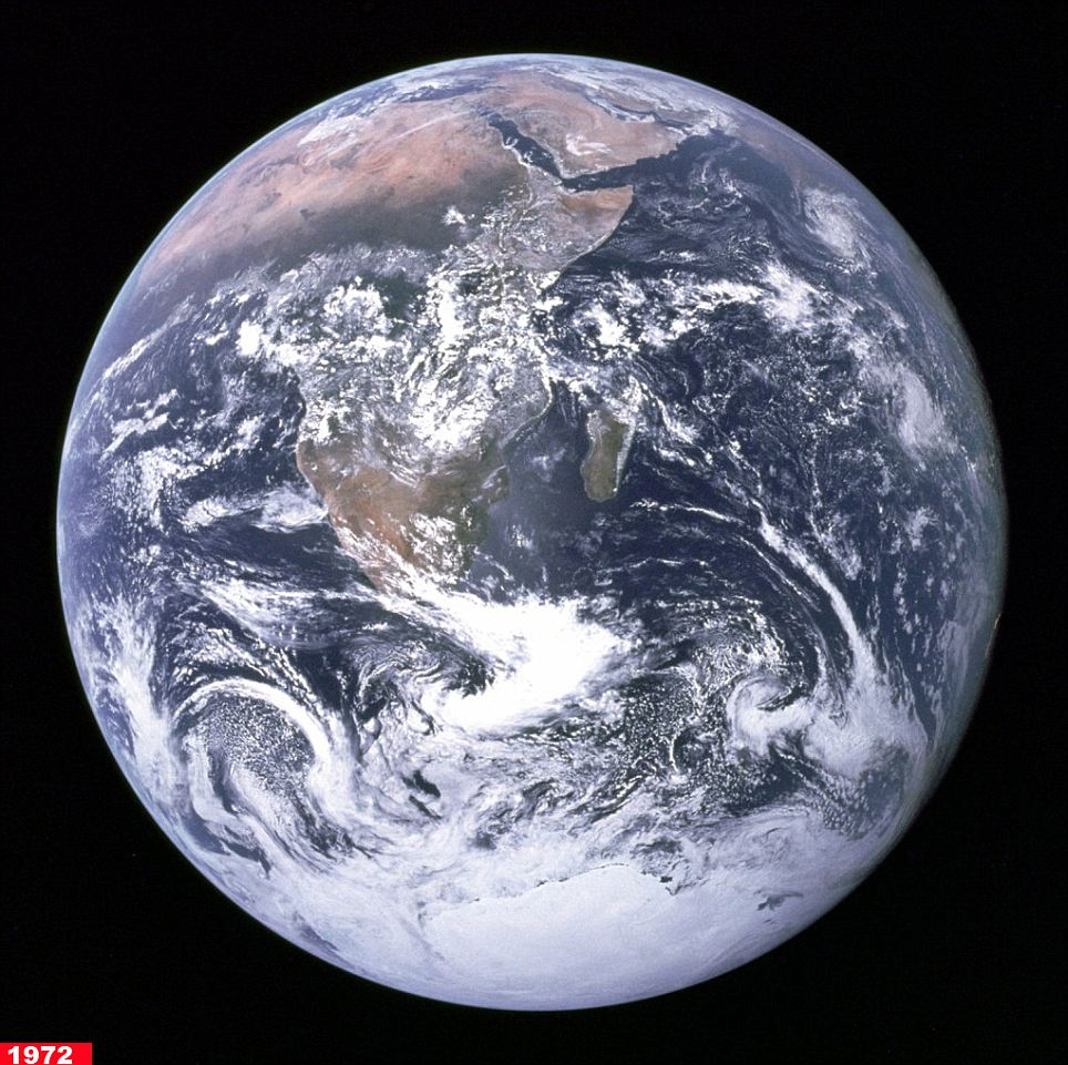This 'Blue Marble' image was taken by Apollo 17 astronauts on December 7, 1972.  With the Sun behind them, the Earth had the appearance of a marble, hence the name