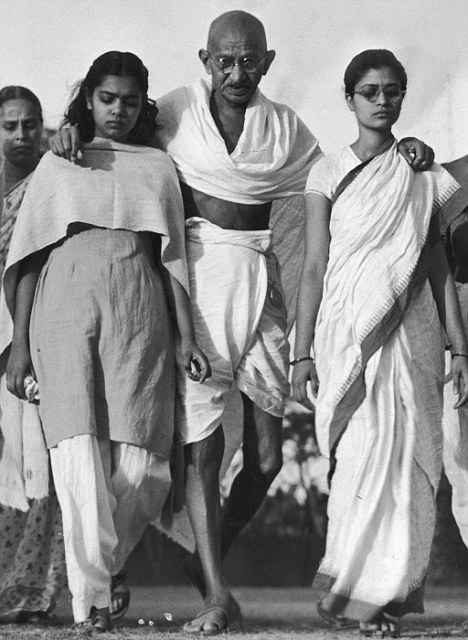 Driven by desire? Gandhi with the two young women he used as his 'walking sticks'