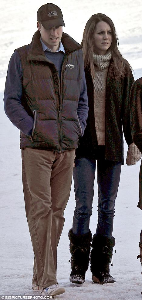 A nation waits: Prince William and Kate Middleton pictured during a skiing holiday in the French Alps last month