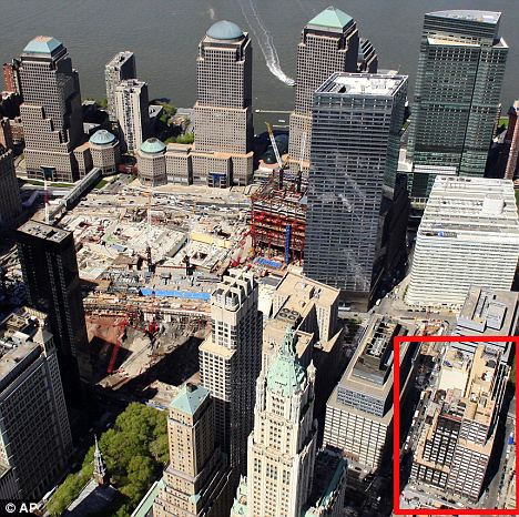 This aerial photo shows the New York city block, lower right, where a 13-storey mosque is planned for construction two blocks north of the World Trade Centre site, centre left