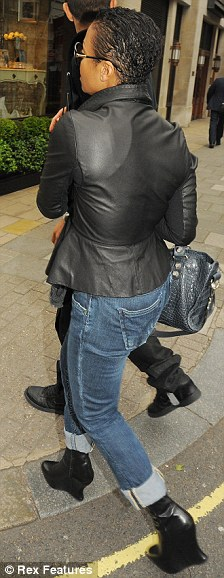 New style: Janet Jackson sporting a short haircut in London today where she dined at Italian restaurant Cecconi's