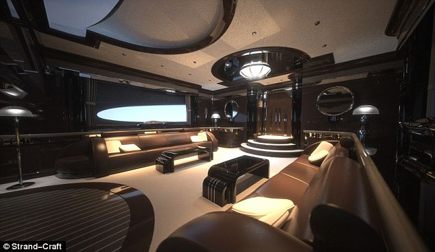 Like a Bond villain's den, the interior of the superyacht