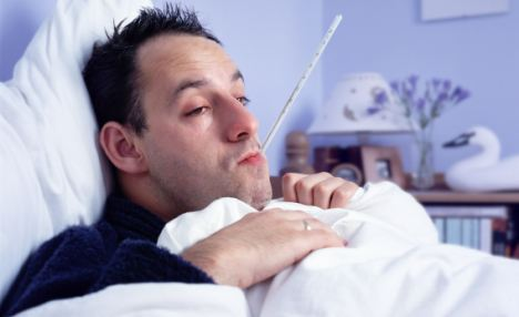 A man, suffering from man-flu