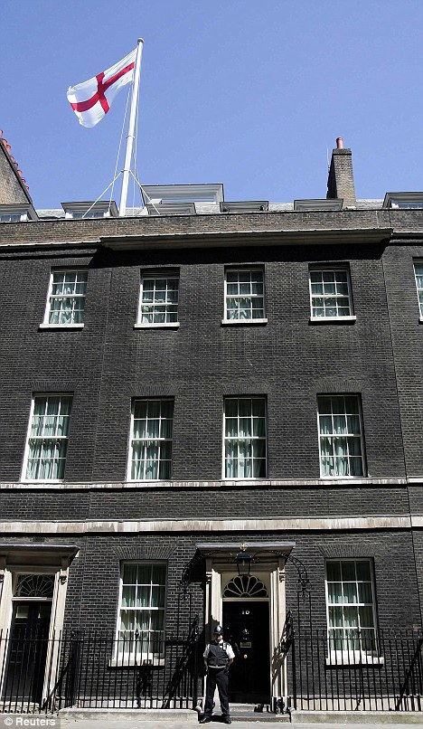 Tradition: The St George's flag flying above Downing Street in June 2006