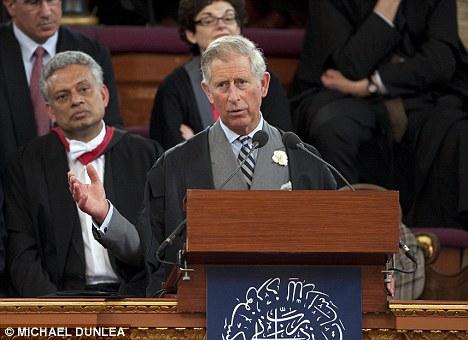 Outspoken: Prince Charles speaks to Islamic studies scholars at Oxford University