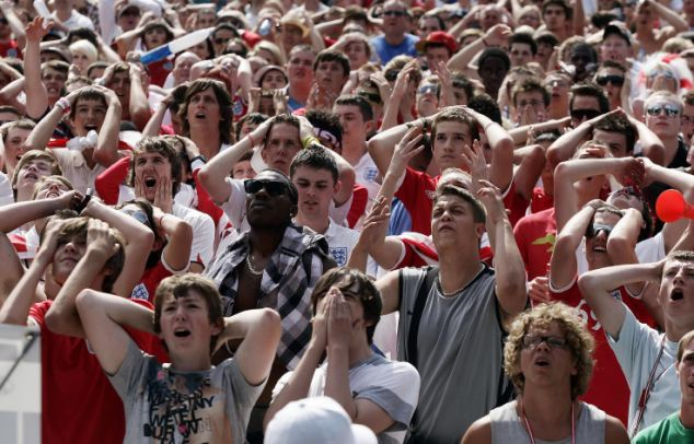England fans in Queens Square, Bristol