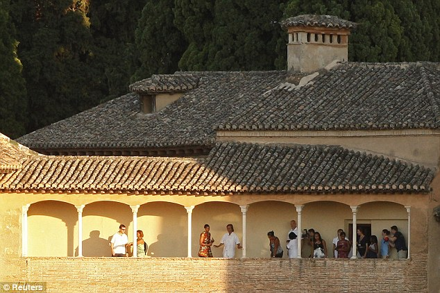 VACATION: Michelle Obama at the stunning Alhambra Palace as part of her visit to Granada, Spain (August, 2010)