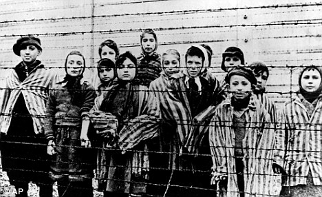 Saved: Picture shows children liberated from Auschwitz by the  Soviet army