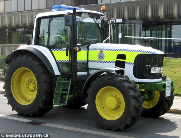 Crops and robbers: The 25mph tractor has been fitted with a flashing blue light in case of high speed chases