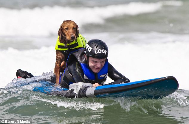 Wet and wild: Richochet helps Patrick Ivison, who is confined to a wheelchair due to a spinal cord injury